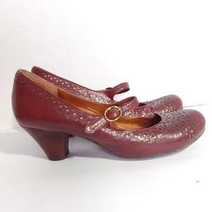 Naya burgundy leather Mary jane  heels